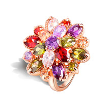Unique Design Exquisite AAA Cubic Zirconia Crystal Stone Wedding Flower Rings for Women Trendy Rose Gold-color Jewelry Wholesale(China)