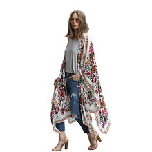 2017 Women Long Chiffon Kimono Cape Cardigan Blusa Feminina Casual Shirts Jackets Long Beach Cover Up Tops blusa femin(China)