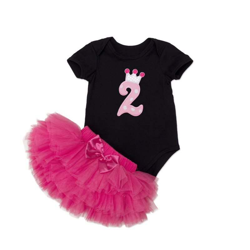 Tutu Baby Birthday Set Summer Short Sleeve Roupas Infantis Bebes 1st Birthday Outfit+Tutu Pettiskirt Dress Party Clothing Sets 20