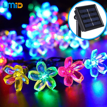 Solar Garden Light 6M 30LEDs Colorful Flower Blossom Outdoor  Waterproof  Solar Lamps Fairy Christmas Decoration String Lighting