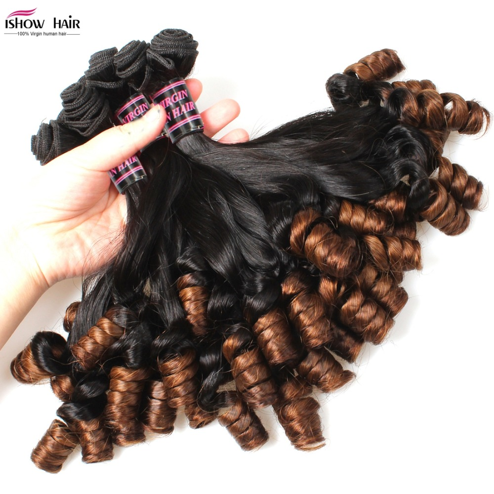 Unprocessed Nigeria Aunty Funmi Hair 4 pcs Ombre Grade 10a Peruvian Virgin Human Hair Weave Bundles Peruvian Bouncy Curly Hair <br><br>Aliexpress