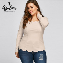 Buy AZULINA Plus Size Scalloped Square Neck Long Sleeve Top Blouse 2018 Women Casual Slim Solid Blouses Shirts Big Size 5XL Blusas for $9.99 in AliExpress store