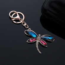 Hot sale Cute Dragonfly Crystal Zinc Alloy Key Chain Handbag Purse Car Buckle Pendant Keyring Accessories @M23