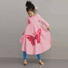 2016 New Spring Autumn Long Sleeve Girls Dresses Cotton Butterfly Print Dresses for Girls Bohemian Style Children`s Dresses