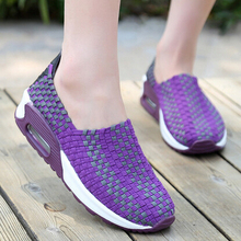 Lovers Summer Knitted Soft Sole Daily Casual Shoes Fashion Shallow Mouth Platform woMen Shoes(China)