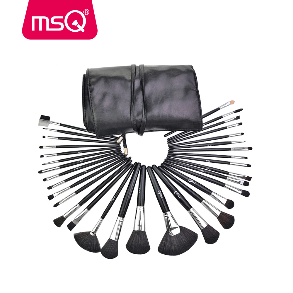 MSQ 32pcs Professional Makeup Brush Set Cosmetics Tool Soft Synthetic Hair With PU Leather Case<br>