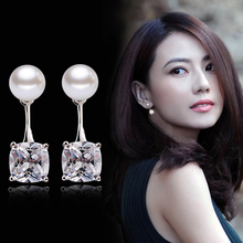 New women's fashion princess earrings exquisite crystal freshwater pearl four claws double and silver jewelry products