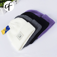 Simple Low-key Smile Knit Hat for Women girls men boys Embroidery Knitted Hats Female Spring Autumn Winter Beanies Caps gorro