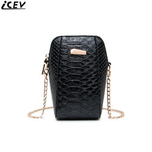 Korean style alligator small chain messenger bag ladies leather clutch crocodile mini phone bags for girl purse and handbag sac