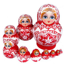 Matryoshka Russian Nesting Toy 10Pcs/Set Model Assembly Kit Braid Girl Flower Hand Paint Gifts Toys For Baby Kids(China)