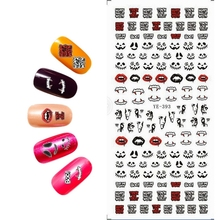 WATER TRANSFER DECAL NAIL STICKER HALLOWEEN PUMPKIN BAT CASTLE FANG SCARY CLAW BONE TREAT OR TRICK YE393-398