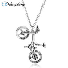 dongsheng Bicycle Necklace Silver Color Bike Pendants & Necklaces For Men and Women 2017 Hot Fashion Jewelry Hippie Rock Gift-30(China)