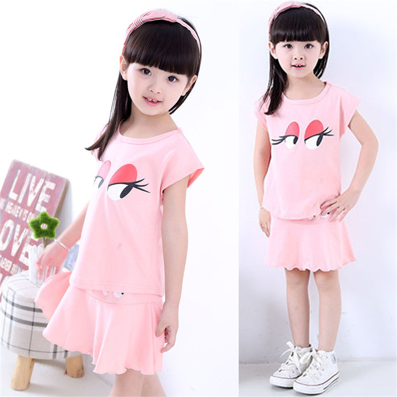 New Brand Baby Girls Summer Suit 2017 Fashion Shirts+Dress Two-Piece Children Casual Character O-Neck Pullover Clothing Hot Sale<br><br>Aliexpress