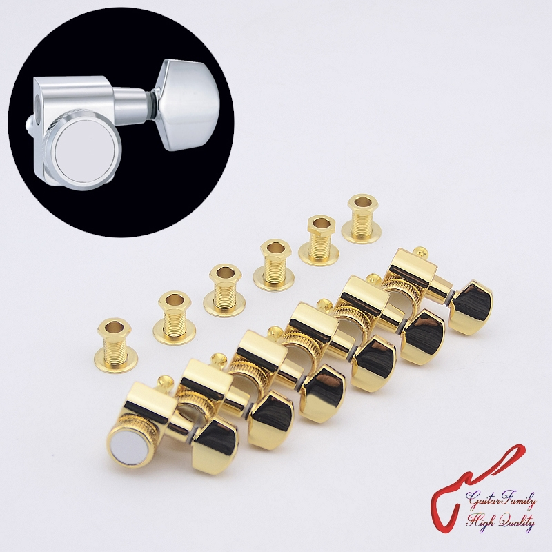 1 Set GuitarFamily  6 In-line No Screw  Locking Guitar Machine Heads Tuners  Gold  ( #0257 ) MADE IN TAIWAN<br>