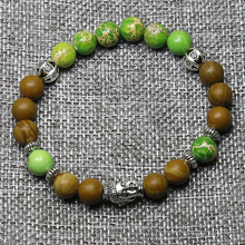 Mala Bracelet Yoga Chakra Green marine sediment with Woody stone Yoga Silver Buddha Bracelet Energy Beads bracelet for women
