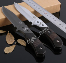 HOT! Titanium Knife Blade Camping Hunting Straight Knife Cutter Wood Handle Tactical Fixed Blade Knife Tools with Leather Sheath
