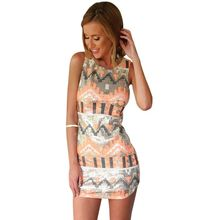 2017 Hot Fashion Summer Women Printed Mini Dress Casual Sleeveless Bodycon Sexy Plus Size Club Dresses