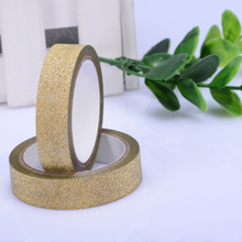 10pcs silver golden paper tape 5M Glitter Washi Sticky Paper Masking Adhesive Tape Label Craft Decorative DIY wedding supply