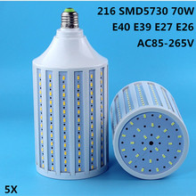 5X LED corn lamp E27 light 70W AC 85-265V E26 bulb 216 5730 SMD Leds Lighting E40 E39  Road lights Factory lighting Lampada luz