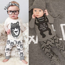 2016 Toddler Baby Boys Girl T Shirt + Pants Outfit Sets Children Clothing 1T to 4T Cartoon Baby Clothes