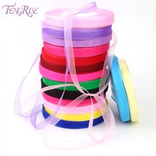 FENGRISE Organza Ribbon 10mm 45 m Apparel Sewing Tape Accessory Chiffon Fabric Ribbons Gift Wrapping Wedding Christmas Ribbon
