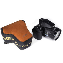 Protective Neoprene Camera Lens Bag with Hanging Buckle for DSLR P900 P900s Brown Inner Pouch Soft Case