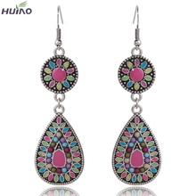 Fancy Design High Quality Women Jewelry Fashion Purple Blue Oil Painting Folk-custom Retro Earrings For Women