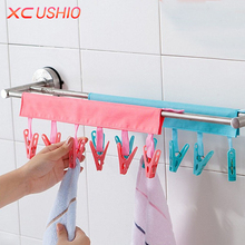 Multifunctional Portable Cloth Hanger Drying Rack Foldable Bathroom Rack Travel Clothespin 6 Clip Hanger Towel Socks Hanger Clip(China)