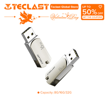 Teclast USB 2.0 Flash Drive 8G 16G 32G External Storage Memory Stick 360 rotation design Full metal body Mirror polished(China)