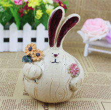 1PC Lovely Rabbit Money Box Big Ears Children Saving tank Kids Cofre Home Decoration Craft Resin piggy bank Coins Storage Case