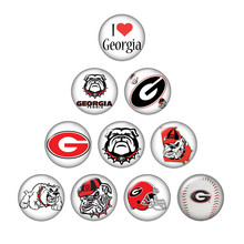 New ZB0394 mixed 10pcs NCAA Georgia team logo 18mm/20mm/25mm glass cabochon & snap buttons for DIY jewelry(China)