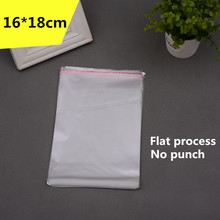 100pcs 16*18cm Clear Self Adhesive Resealable Opp Poly Clothing Bag Transparent Opp Bag Packing Plastic Bags