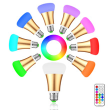 10W E27 LED Bulb Lamp RGB Stage Light 12 Colors Led Lights for Home Remote Control Brightness Timing AC 85-265V RGB + Cool White