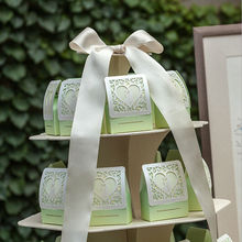 2016 New white green paper wedding box bride groom heart event party favor boxes Free Shipping