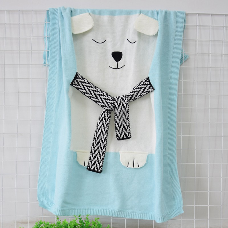 MOTOHOOD Cute Bear Cotton Baby Blankets Newborn Fashion Knitted Muslin Swaddle Wrap Baby Decoration Room Photography Accessories (5)