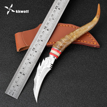 KKWOLF Manual Damascus Steel Shofar Camping Knife Pocket Tactical Knife Survival Hunting Knife Outdoor Multi Tools Best Gift