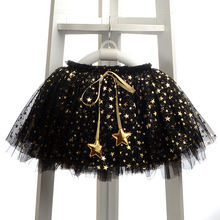 Retail Fashion Baby Girl Skirts Appliques Stars Grow Ball Girls Skirts Cute Girl Clothes Lolita TUTU Mesh Tulle jupe fille black(China)