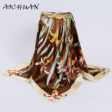 New Multicolor Chinese Floral Large Square Scarves New Female Elegant Large Silk Scarf Fashion Ladies Accessories 90*90cm F60
