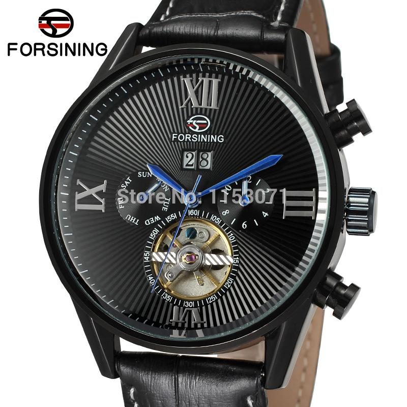 FSG16556M3B4 Hot ! new style fashion  Automatic self-wind business men watch with black genuine leather strap original gift box<br>