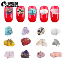 MANZILIN 10pcs/pack Latest Fashion Copper Wired Natural Stone Nail Art Jewelry 3D Styling Design Tools Decorations(China)