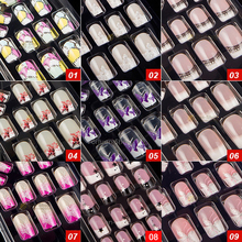 27 Style Options 24pcs Per Set Acrylic Full Cover Nail Tips False Nail Art With Glue Artificial Pre Designed Fake Nail Tips(China)