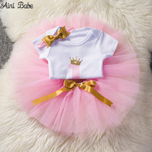 Buy Aini Babe Baby Girl 1st Birthday Outfits One Year Old Clothing Sets Infant Toddler Clothes Baby It's 1st Birthday Suit for $6.88 in AliExpress store