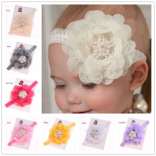 1pcs Chiffon Hair Bow Newborn  Baptism Gift   Hair Accessories Lace Flower Headband Hairband Shabby Chic Headband