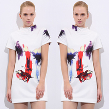 Fashion women summer t-shirt dress 2017 new Head print short sleeved White dress novelty Graffiti Flowers Mini dresses(China)