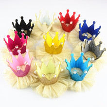 10pcs/lot 10colors Girls Cute Crown with Gold Powder Net Yarn Flower Flatback Kids  DIY Crafts Hair Accessories