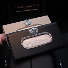 Metal Crown Crystal Car Tissue Box Sun Visor Leather Auto Tissue Bag Sunvisor Hanging Holder Case Napkin For Car Accessories