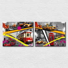 Canvas Print Designs art travel place Mosaic pictures of London with city view Double-decker bus and a bridge 2pcs set(China)