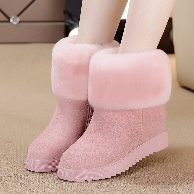 Fashion sheepskin one snow boots new casual flat-bottomed high boots snow boots women Brand ankle boots<br><br>Aliexpress