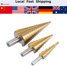 3Pcs/ Metric Spiral Flute Step HSS Steel 4241 Cone Titanium Coated Drill Bits Tool Set Hole Cutter 4-12/20/32mm(China)