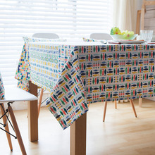 Linen Table Cloth Printed Pastoral Colourful Fish Lace Tablecloth Black  White Nappe Table Cover Manteles Para